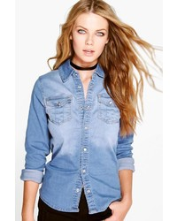 Boohoo Khloe Washed Western Denim Shirt