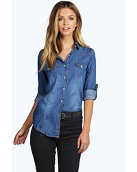 Boohoo Laura Slim Fit Light Wash Denim Shirt