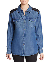 Rails Leather Trim Denim Shirt