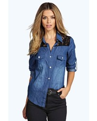 Boohoo Leila Contrast Lace Denim Shirt
