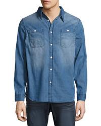 One Teaspoon Liberty Cotton Denim Shirt Blue
