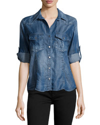 Bella Dahl Long Sleeve Distressed Denim Shirt Whisper Wash