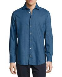 Luciano Barbera Long Sleeve Pique Denim Sport Shirt Blue