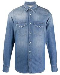 Eleventy Long Sleeved Light Wash Denim Shirt
