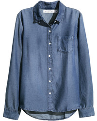 H&M Lyocell Denim Shirt Dark Denim Blue Ladies