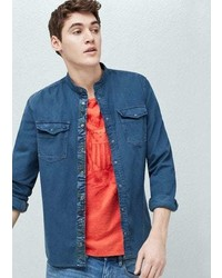 Mango Outlet Mao Collar Denim Shirt