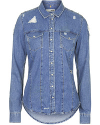Topshop Moto Bleach Wash Denim Western Shirt With Ripped Details Features Button Front Placket Two Chest Pockets And A Curved Hem 100% Cotton Machine Wash