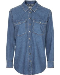 Topshop Moto Oversized Denim Shirt