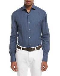 Isaia Navetta Denim Effect Sport Shirt Blue