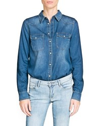 Mango Outlet Dark Wash Denim Shirt