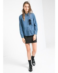 Mango Outlet Outlet Printed Denim Shirt