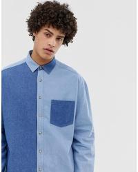 ASOS DESIGN Oversized 90s Style Denim Cut Sew Shirt
