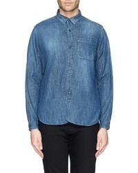 White Mountaineering Patch Pocket Cotton Denim Shirt