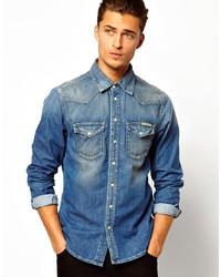 d35b46b6686 ... Pepe Jeans Pepe Denim Shirt Carson Mid Wash