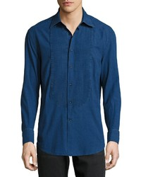 Brunello Cucinelli Plastron Pleated Button Shirt Dark Denim