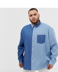 ASOS DESIGN Plus Oversized 90s Style Denim Cut Sew Shirt