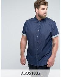 Asos Plus Skinny Denim Shirt In Rinse Wash