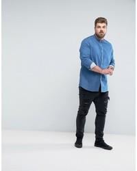 7d499e7945d ... Asos Plus Skinny Denim Shirt With Grandad Collar In Mid Wash ...