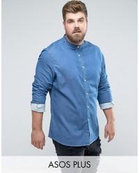 Asos Plus Skinny Denim Shirt With Grandad Collar In Mid Wash