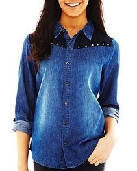 jcpenney Pretty Rebellious Denim Button Front Shirt