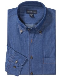 Scott Barber James Shirt Enzyme Washed Cotton Long Sleeve