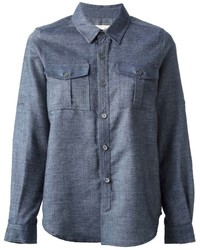 Sea Front Butted Flap Pockets Denim Shirt