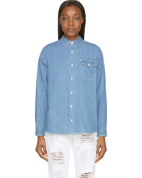 Sjyp Blue Denim Buttoned Shirt
