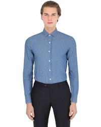 Salvatore Piccolo Slim Fit Cotton Linen Denim Shirt