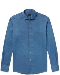 Ermenegildo Zegna Slim Fit Cutaway Collar Denim Shirt