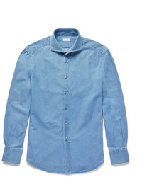 Brunello Cucinelli Slim Fit Cutaway Collar Washed Denim Shirt