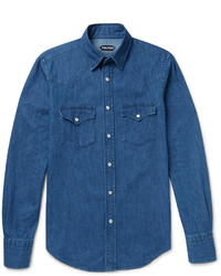 Tom Ford Slim Fit Washed Cotton Chambray Western Shirt