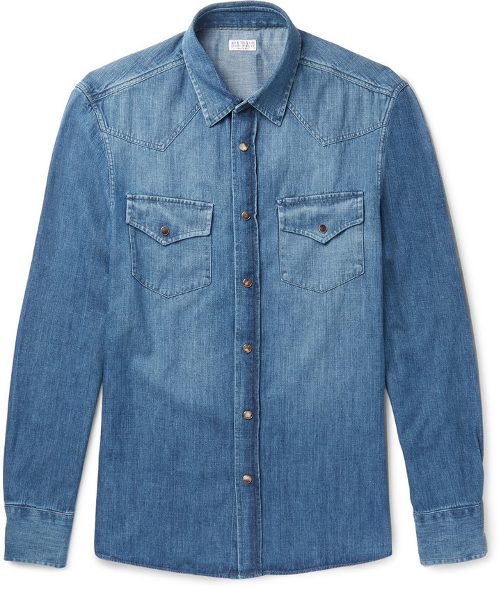 0ac316c7f4 $645, Brunello Cucinelli Slim Fit Washed Denim Shirt