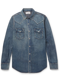 Saint Laurent Slim Fit Washed Denim Western Shirt