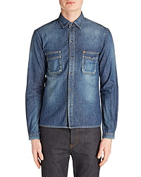 Saint Laurent Snap Up Denim Straight Shirt