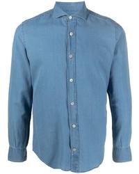 Eleventy Spread Collar Denim Shirt