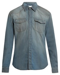 Maison Margiela Straight Fit Distressed Denim Shirt