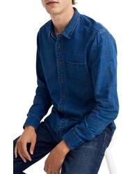 Madewell Textured Plaid Indigo Long Sleeve Shirt