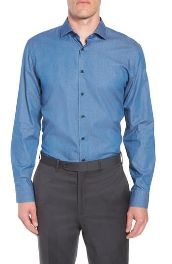 1901 Trim Fit Solid Denim Dress Shirt