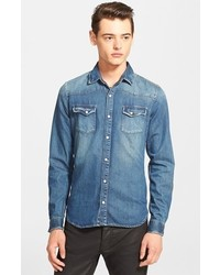 Trim fit washed denim western shirt medium 295066
