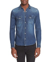 The Kooples Trim Fit Washed Denim Western Shirt