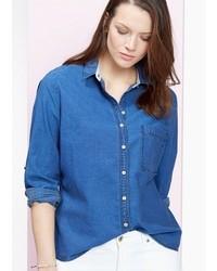 Violeta BY MANGO Stitched Denim Shirt