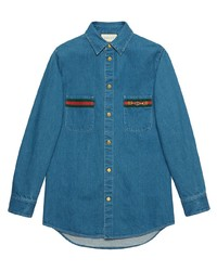 Gucci Web Detail Long Sleeve Denim Shirt
