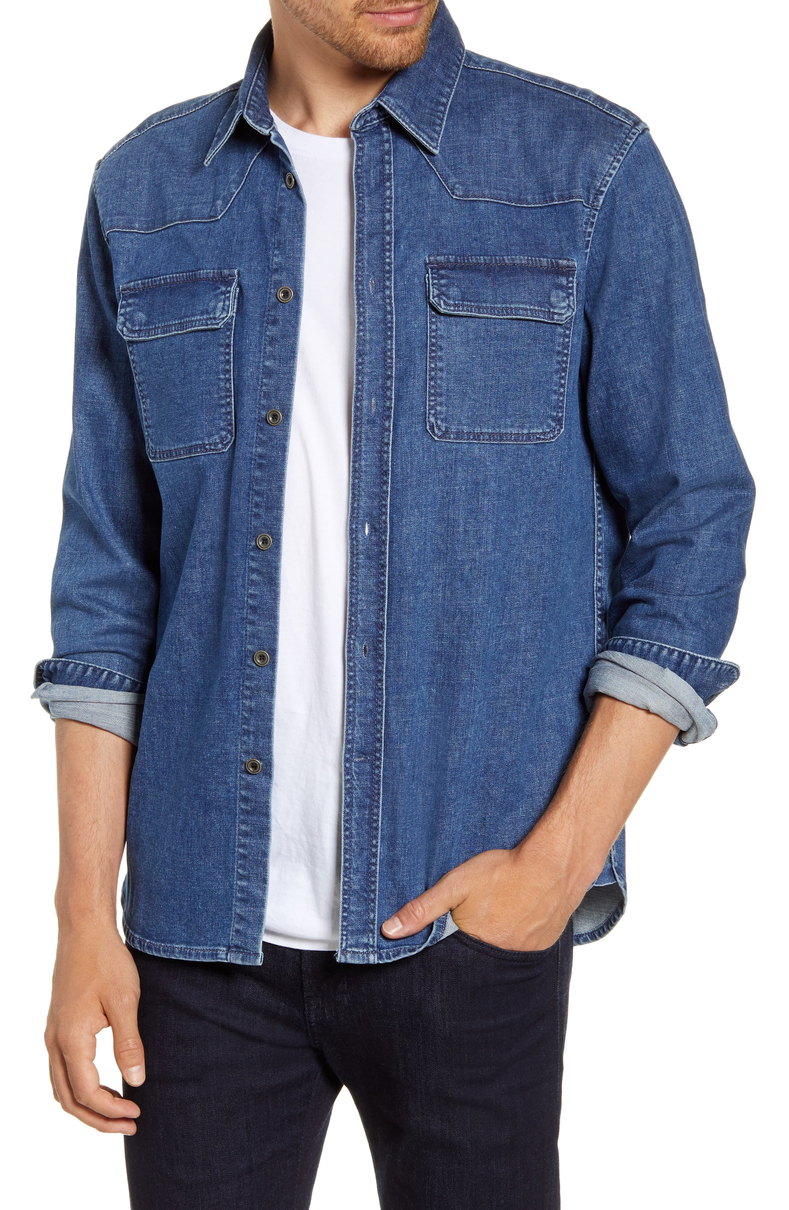 French Connection Western Button Up Denim Shirt
