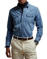 Ralph Lauren Purple Label Western Snap Up Denim Shirt