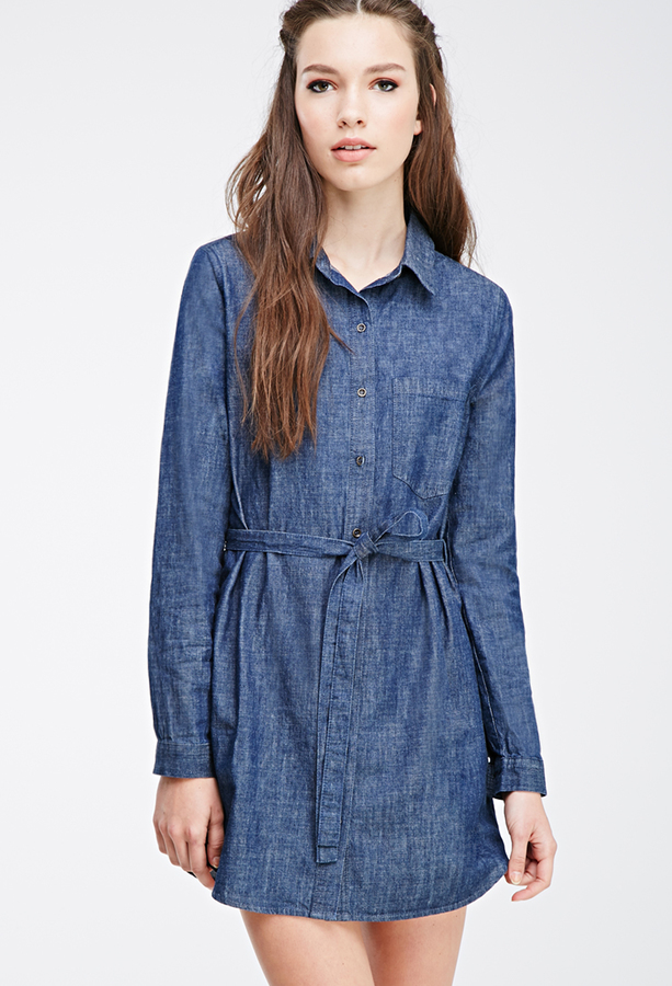 1f265cb7b9 ... Blue Denim Shirtdresses Forever 21 Buttoned Denim Shirt Dress ...