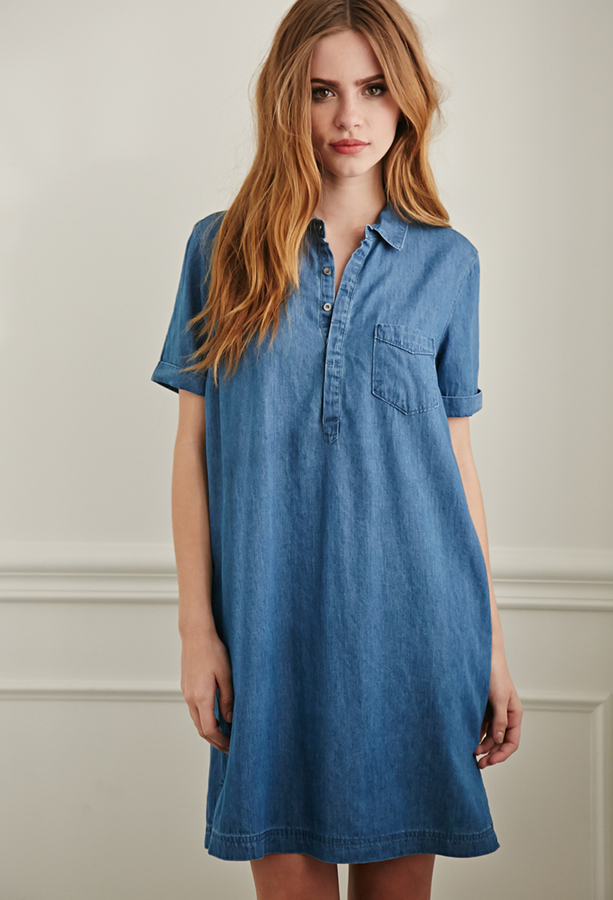 506aa14a75 $22, Forever 21 Chambray Shirt Dress