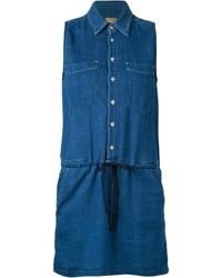 Mother Drawstring Denim Shirt Dress