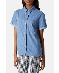 Blue Denim Short Sleeve Button Down Shirt