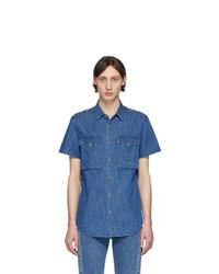 Balmain Blue Logo Short Sleeve Shirt