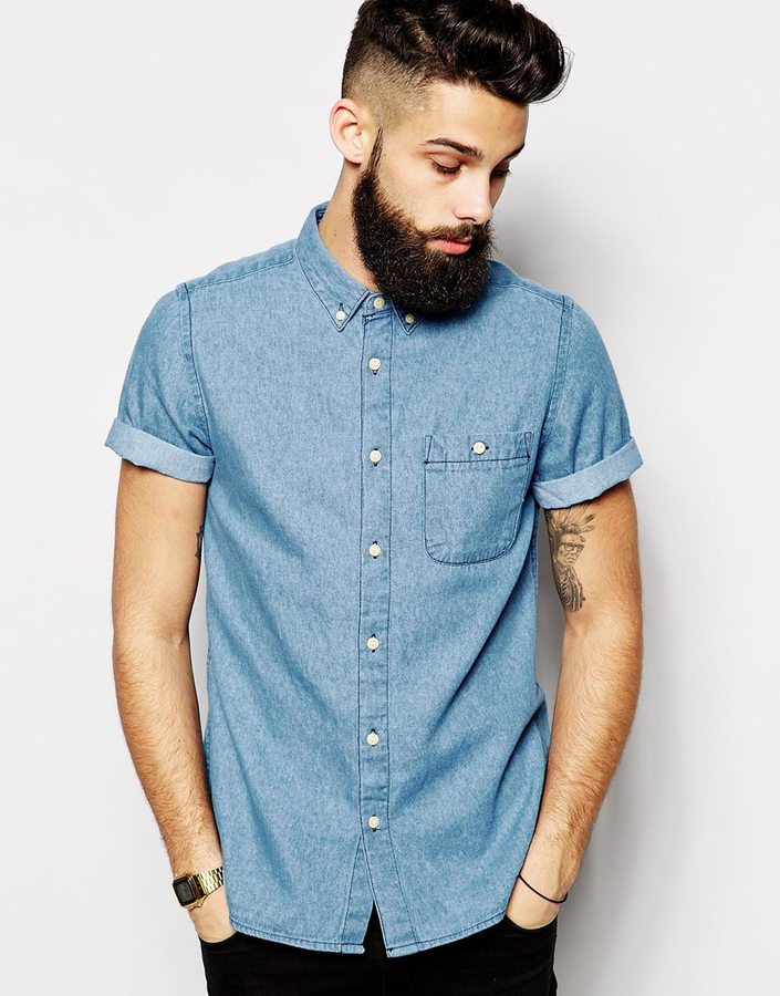 95e4785422f ... Asos Brand Denim Shirt In Short Sleeve With Mid Wash ...